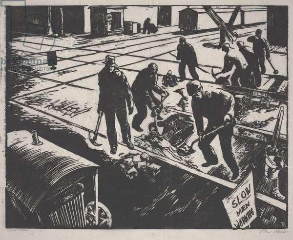 Line Men, c.1933-1934 (lino cut)