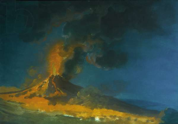 The Eruption of Vesuvius (gouache on paper)