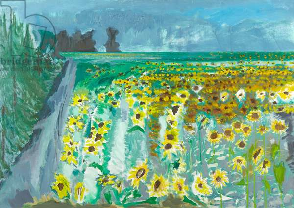 Sunflowers and Mistral, 2002 (oil on canvas)
