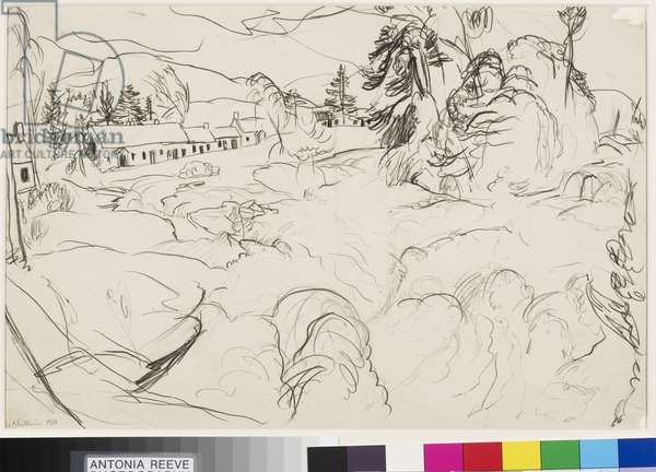 The Falls of Dochart, 1930 (pencil on paper)