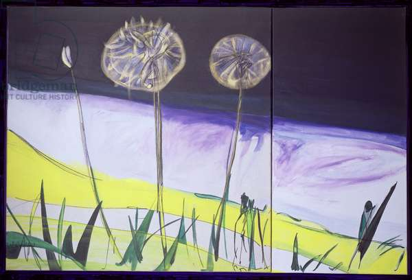Diptych, Dandelion Flower (mixed media on canvas)