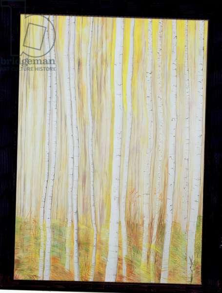 Silver Birches (oil on canvas)