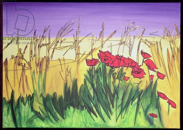 In The Stubble Fields (mixed media on canvas)
