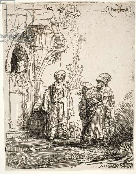 Three oriental figures (Jacob and Laban), 1641 (etching)