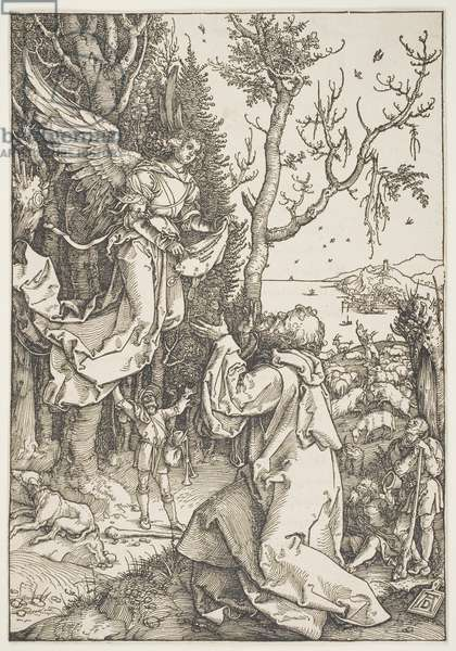"""Joachim and the Angel, from the series """"The Life of the Virgin"""", c.1504 (woodcut)"""