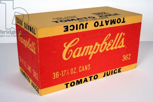 Campbell's Tomato Juice, 1964 (synthetic polymer paint & screenprint ink on wood)