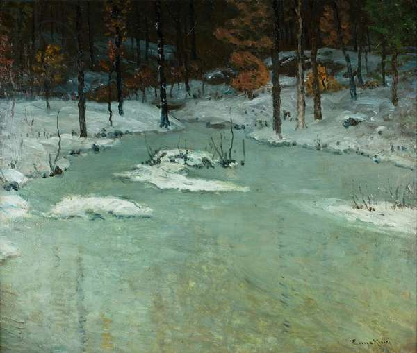 Winter Woods and Brook, c.1905 (oil on board)