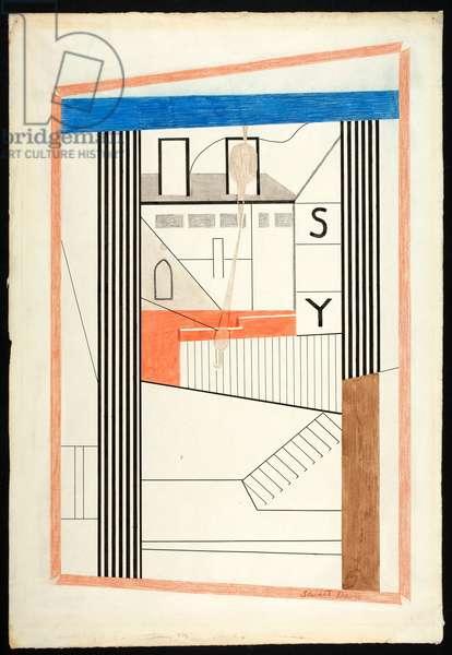 Spar Yard, 1924 (ink with wash, w/c, pencil & coloured pencil)