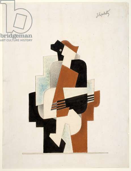 Seated Figure, 1918 (graphite, black ink, pastel & gouache on paper)