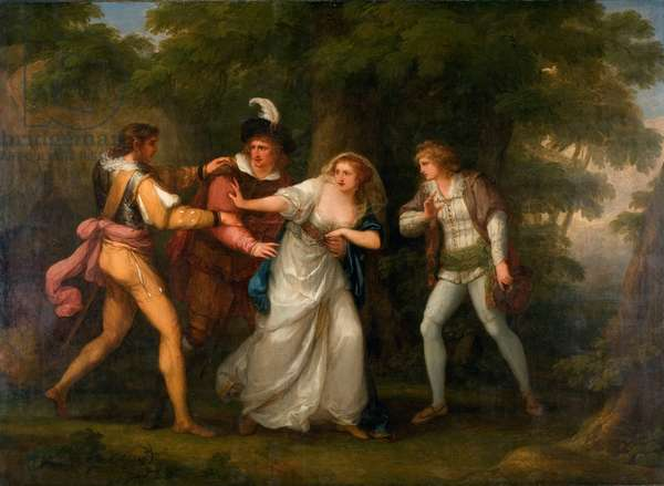 Valentine, Proteus, Sylvia and Giulia in the Forest - Scene from 'The Two Gentlemen of Verona' Act V, Scene IV, 1788 (oil on canvas)