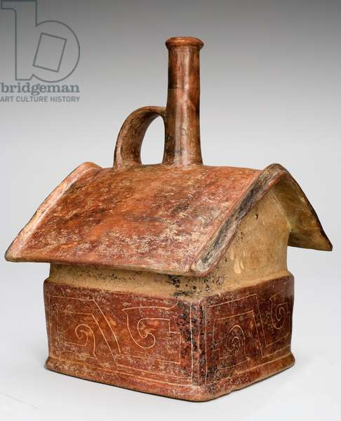 Strap handle vessel in the form of a house, 1000-300 BC (earthenware with slip paint)
