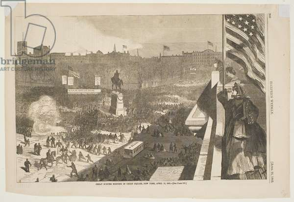 """Great Sumter Meeting in Union Square, New York, April 11, 1863, published in """"Harper's Weekly,"""" April 25, 1863 (wood engraving)"""
