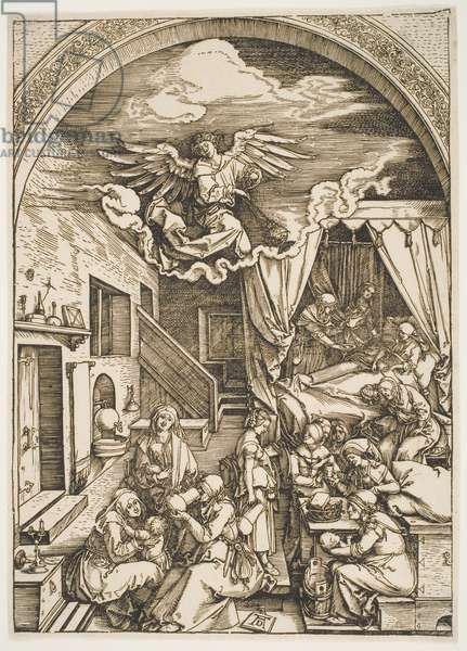 """The Birth of the Virgin, from the series """"The Life of the Virgin"""", c.1503-04, printed c.1600 (woodcut)"""