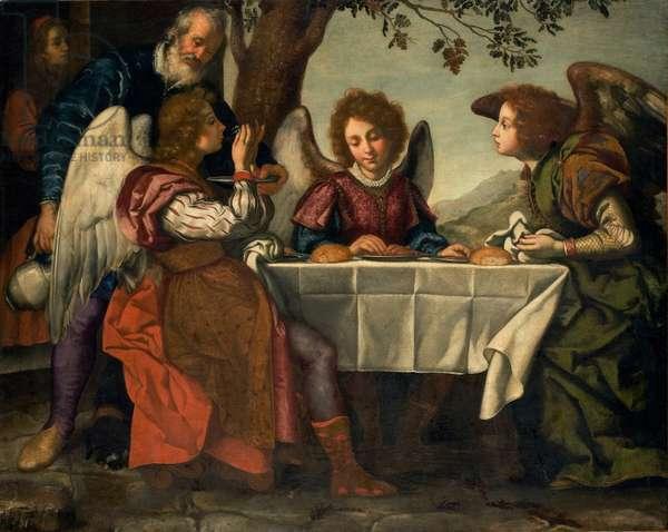 Abraham entertaining the Three Angels, c.1620 (oil on canvas)