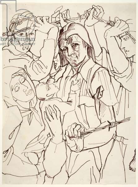 Argelès, 1939 (pen & brown ink on paper)