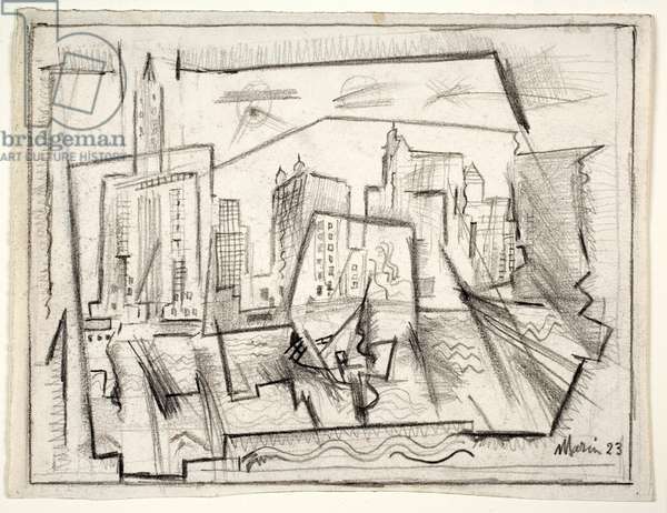 New York from the River, 1923 (pencil & black crayon on paper)