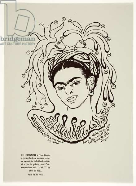 Untitled (Portrait of Frida Kahlo), 1955 (litho)