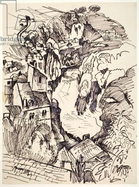 Andre Breton's House and the Lot River, France, c.1951 (marker, pen & black ink, oil & graphite on paper)