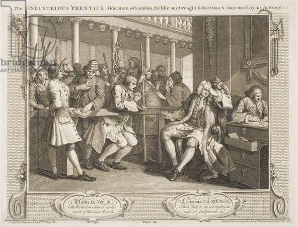 """The Industrious 'Prentice Alderman of London, the Idle one brought before him & Impeached by his Accomplice, from the series """"Industry and Idleness"""", October 1747 (etching & engraving)"""