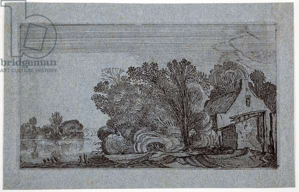 Paths Leading to a Farm with a River to the Left (etching)