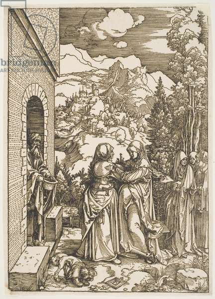 """The Visitation, from the series """"The Life of the Virgin"""", c.1504, printed c.1600 (woodcut)"""
