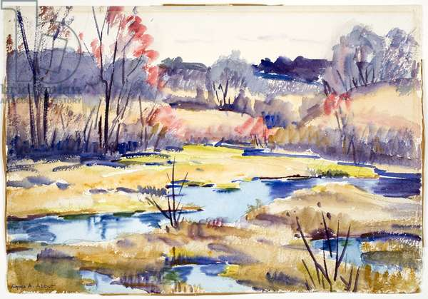 Untitled (Fall Landscape with Marsh) (w/c on paper)
