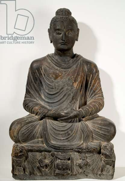 Seated Buddha in Meditation, Gandharan, Kushan Dynasty, 2nd-3rd century (grey schist (phyllite))
