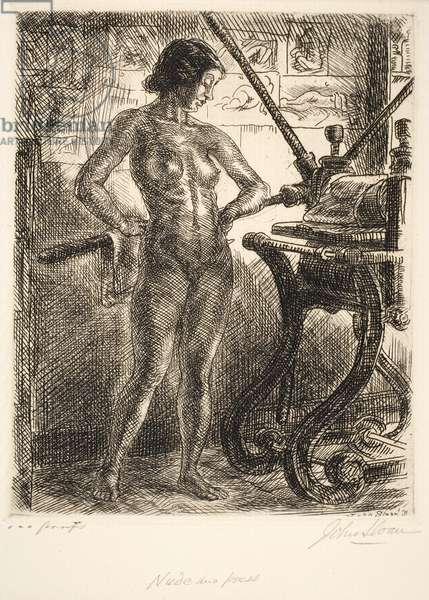 Nude and Etching Press, 1931 (etching)