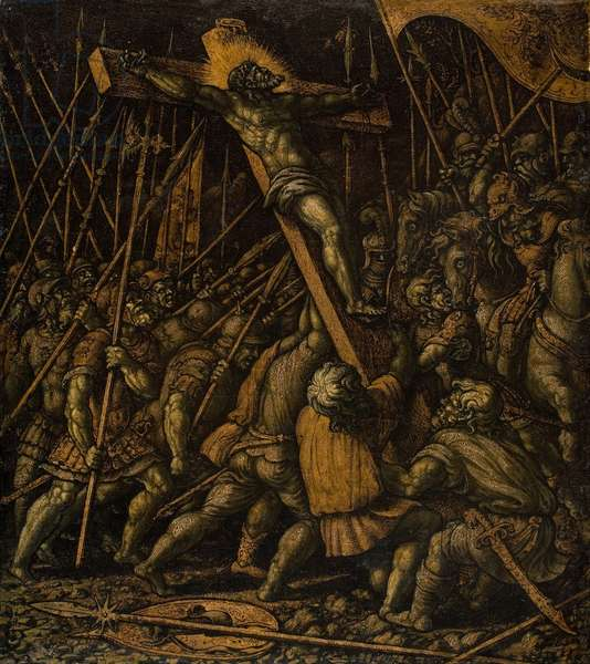 Raising of the Cross, c.1530 (oil & gold leaf on panel transferred to canvas)