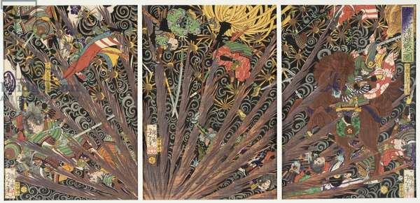 Masakiyo's Difficult Battle from the Taiheiki Chronicles, 1866 (colour woodblock print)