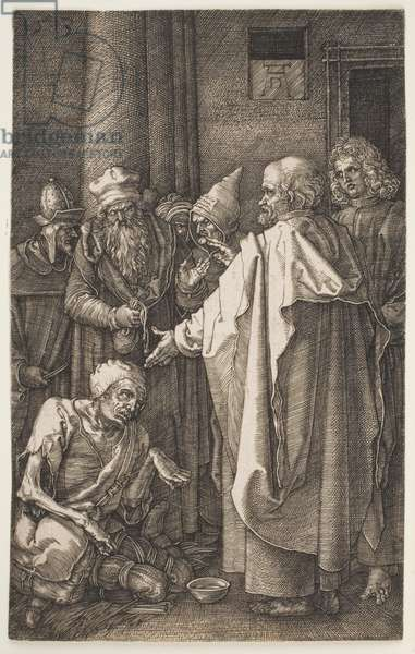 """St. Peter and St. John Healing the Cripple, from the """"Engraved Passion"""", 1513 (engraving)"""
