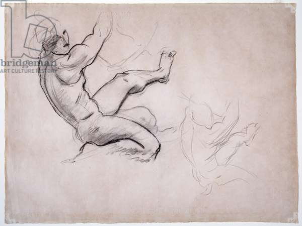 Male Nude in Action (charcoal on paper)