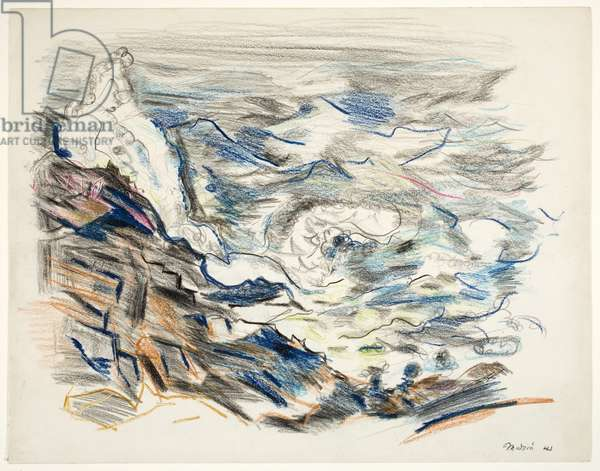 Cape Split, Maine, 1941 (crayon & graphite with scratching)