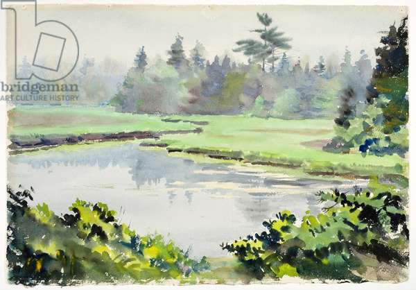 Untitled (Spring Landscape with Pond) (w/c on paper)