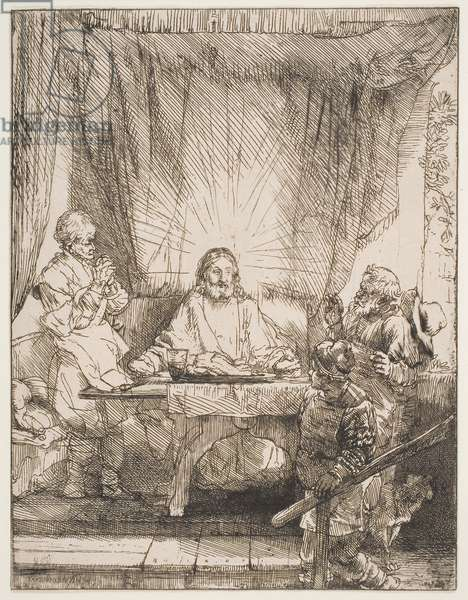 Christ at Emmaus, 1654 (etching & drypoint)