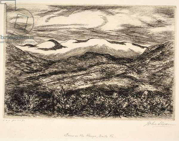 Snow on the Range, Santa Fe, 1937 (etching)