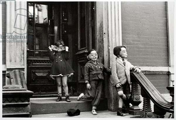 Three Masked Children, 1939 (gelatin silver print)