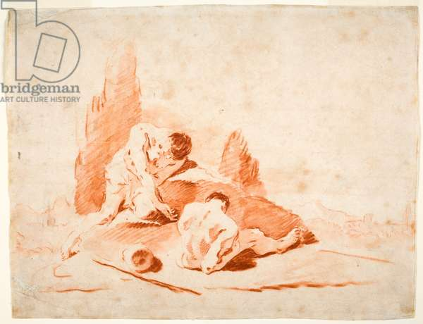 Two Nudes in a Landscape, c.1723 (red chalk & washes on paper)