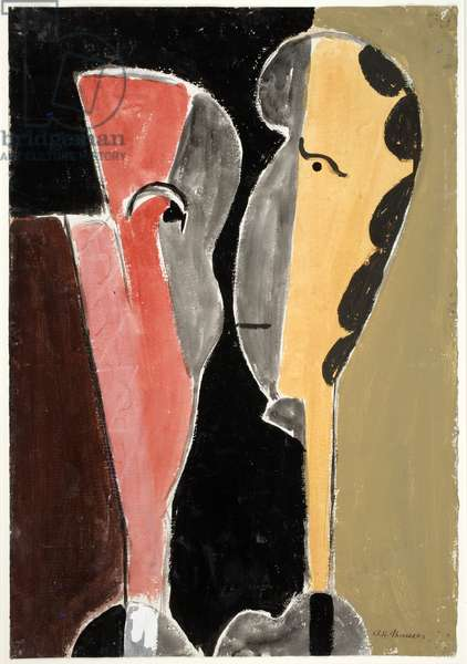 Two Heads, 1918 (gouache & charcoal on paper)