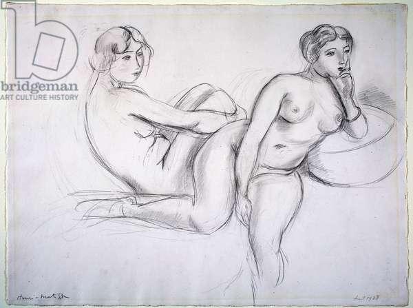 Two Nudes, 1928 (graphite)