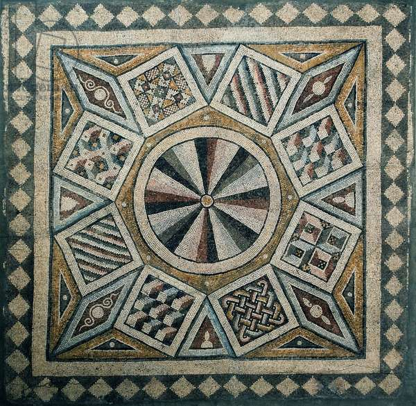 Mosaic floor from the Villa of Daphne, 5th century AD (stone tesserae set in concrete mortar)