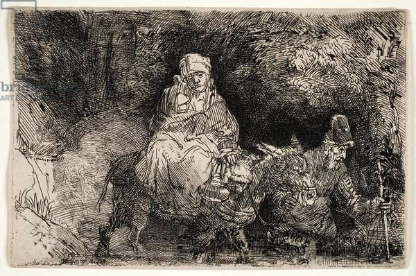 The Flight into Egypt: Crossing a Brook, 1654 (etching)