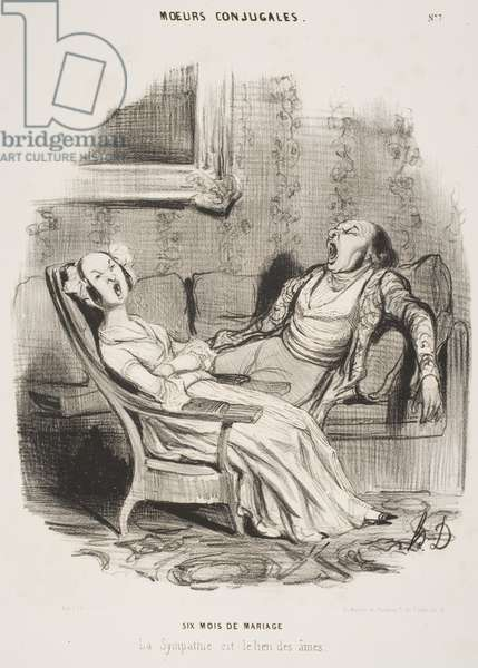 """Six mois de mariage (Six months of marriage), from the series """"Moeurs Conjugales"""" (Married life), published in """"Le Charivari,"""" July 28, 1839, 1839 (litho)"""