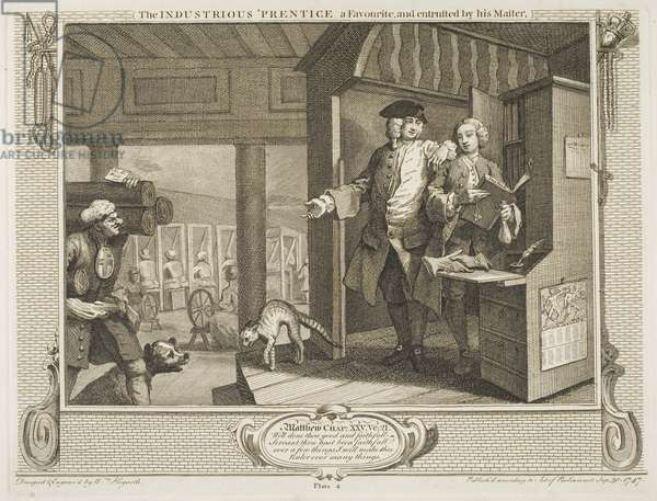 """The Industrious 'Prentice, a Favourite and entrusted by his Master, from the series """"Industry and Idleness"""", October 1747 (etching & engraving)"""