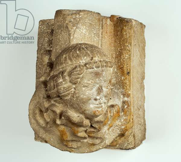 Paired Head Stops, c.1300-25 (limestone)