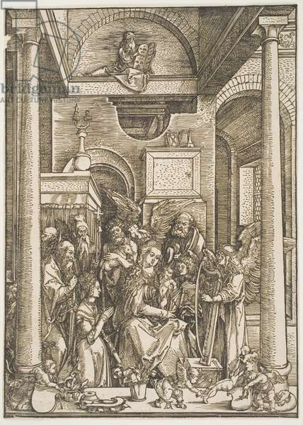 """Glorification of the Virgin with Saints Jerome, Paul, Augustine, Anthony, John the Baptist, Joseph, and Catherine of Alexandria, from the series """"The Life of the Virgin"""", c.1502 (woodcut)"""