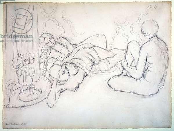 Three Odalisques, 1928 (graphite on paper)