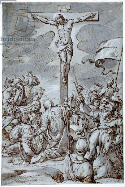 Crucifixion, late 16th-early 17th century (ink & wash with gouache highlights on blue paper)