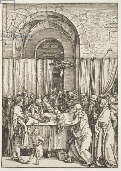 """The Rejection of Joachim's Offering, from the series """"The Life of the Virgin"""", c.1504 (woodcut)"""