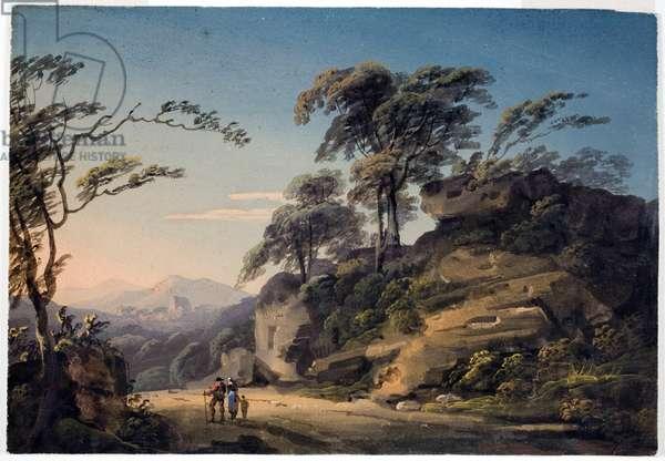 View at Barberi Mile, near Linton, North Devon (gouache on paper)